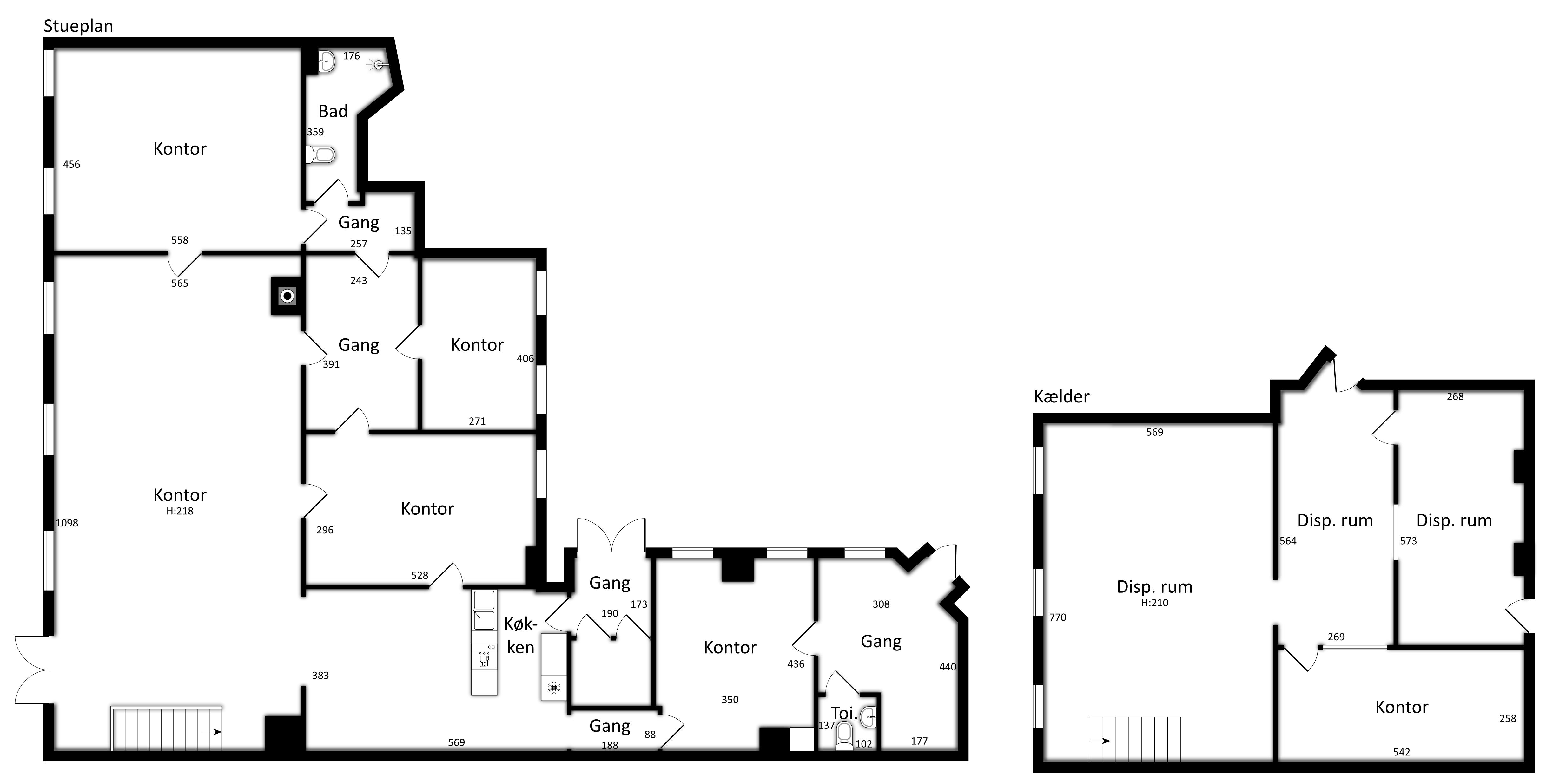 243 m2 stueetage + 100 m2 kælder